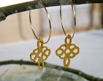 Clover hoop earrings goldfilled earrings