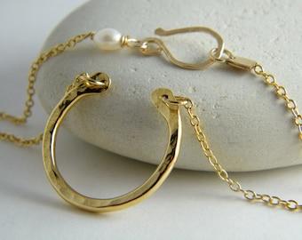 Gold Horseshoe Necklace horseshoe pendant necklace lucky charm necklace