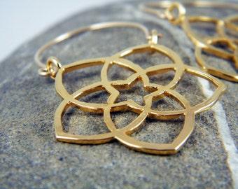 Gold star earrings Flower earrings Mandala earrings