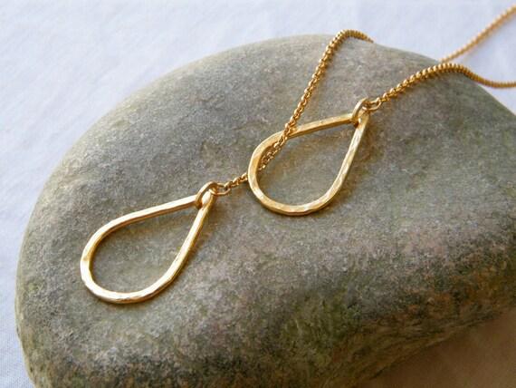 Gold lariat necklace Drop Necklace gold long lariat necklace Tear Drop necklace gold long lariat necklace