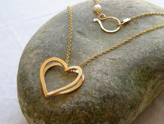 Valentines day gift Gold heart pendant two hearts nacklace gold heart necklace