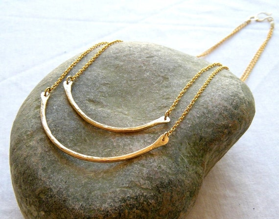 Curved bar necklace, double strand necklace, two tier gold necklace, elegant necklace