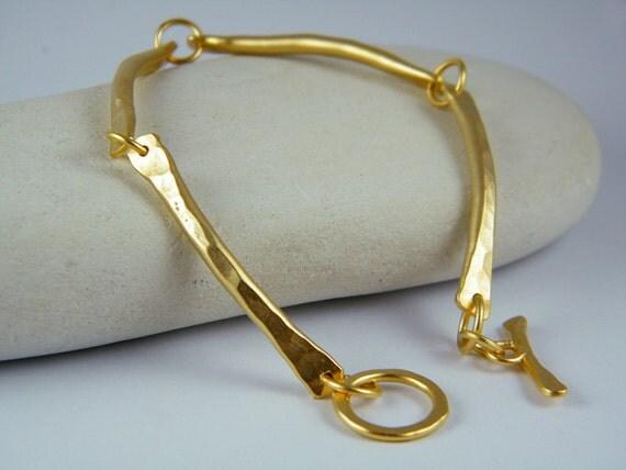 Handcrafted gold bracelet handmade bracelet curve bracelet