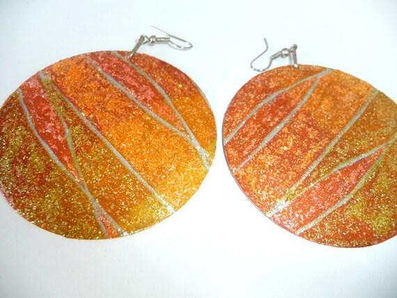 Glitter earrings hand painted