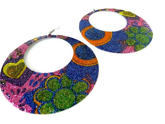 Multicolor big glitter earrings hand painted