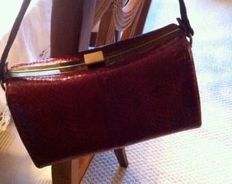 Vintage RED Snakeskin Handbag