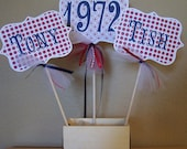 Anniversary Centerpiece 50th 40th Large Picks Navy Blue Red Patriotic Decor Table Custom Personalized