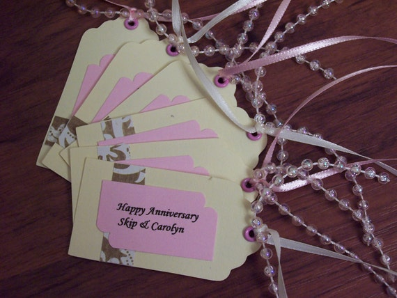 12 Favor Tags Thank You Favors Gold Pink Cream Golden Anniversary 50th Wedding