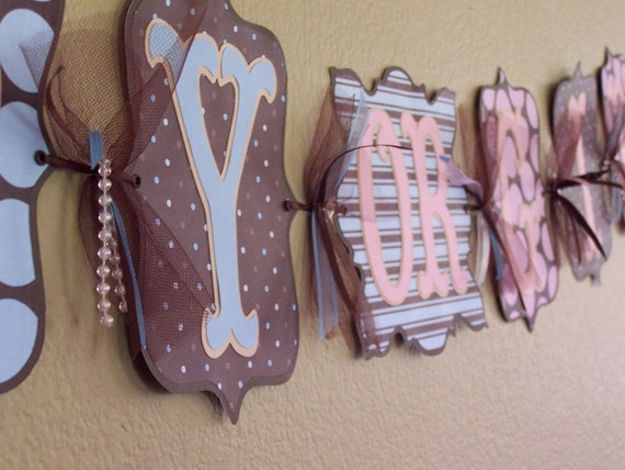 """Custom Personalized Gender Reveal """"Boy or Girl"""" Banner Brown Blue Pink Baby Shower Party Decor"""