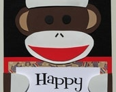 Sock Monkey Door Sign - Birthday Party, Room Sign, Party Decoration, Personalized Sign