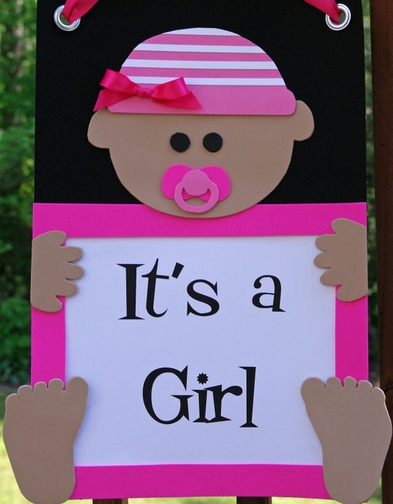 Items similar to it 39 s a girl door sign welcome baby for Welcome home baby shower decorations