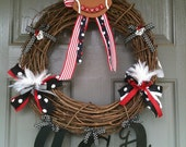 University of Georgia wreath with monogrammed door hanger