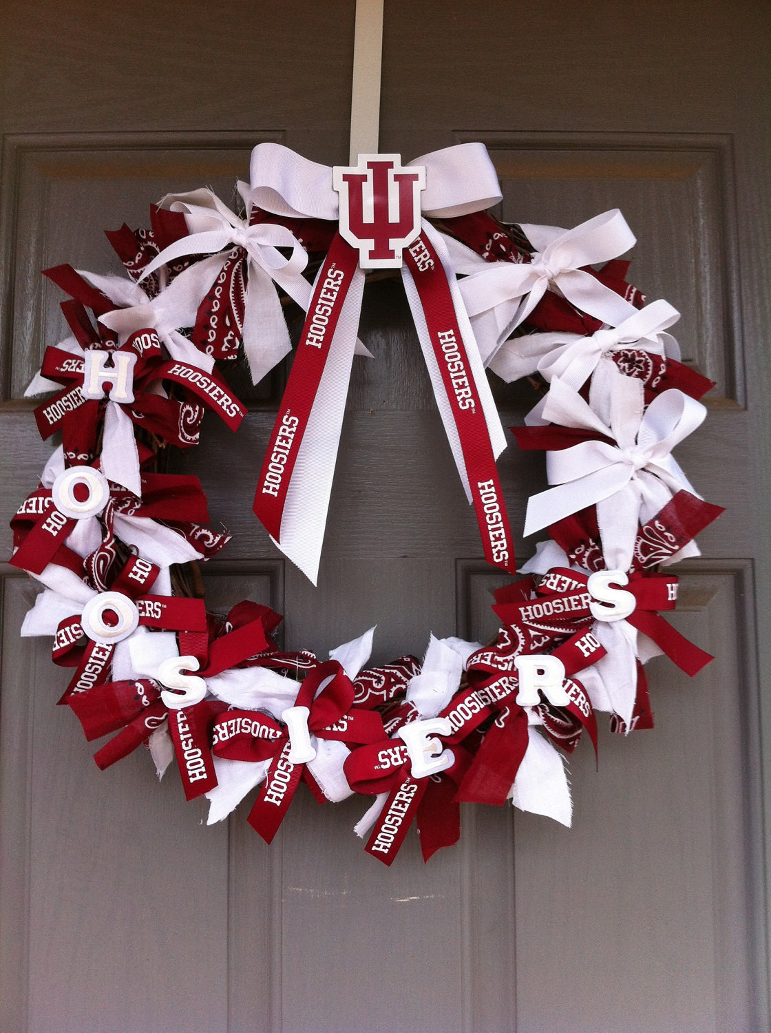 indiana university wreath with monogrammed door hanger