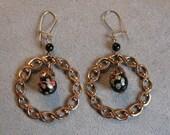 Vintage  Venetian Art Glass / Italian Millefiori  Bead & Brass Earrings