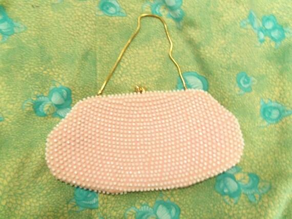 ON RESERVE * Adele Vintage Purse 60s Pink Beaded Formal Handbag