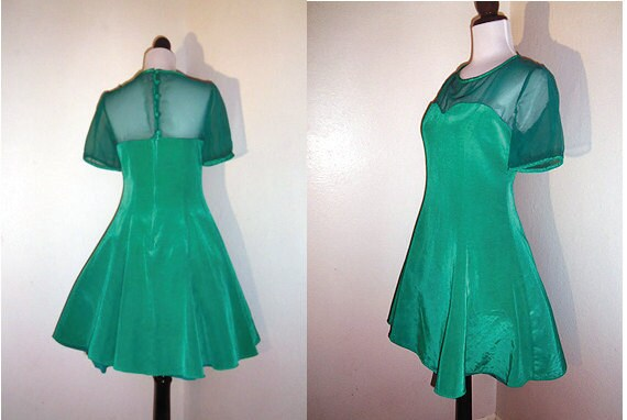 Vintage Emerald Green Taffeta Faille Sheer Sleeve Flared Party Dress - Sz S