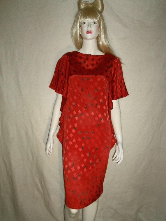 SUMMER SALE - Shimmering Vtg '80s New Wave Red Flutter Sleeve Cocktail Dress - Sz M