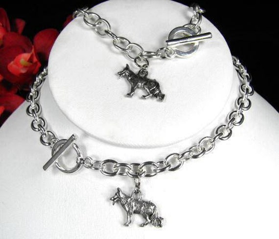 GERMAN SHEPHERD  Dog Breed Charm Toggle Silver Tone Necklace Bracelet Pendant Chain Link Set