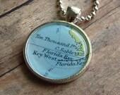 Key West, Florida Vintage Map Pendant Necklace