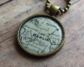 Berlin, Germany Vintage Map Pendant Necklace