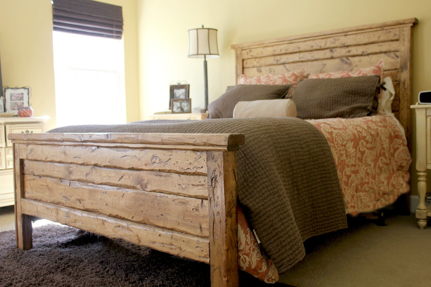 King Reclaimed Wood Headboard And Footbaord
