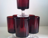 Vintage Red  Aperitif / Shot Glasses