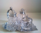 Vintage Leaf Shaped Cruet Set