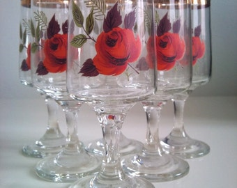 Vintage Rose Sherry Glasses