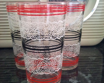 Set of 3 Retro Striped Glasses