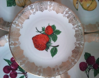 Vintage 1950s Fruity Serving Plate and 6 Side Plates