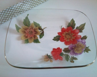 Small Vintage Floral Glass Dish