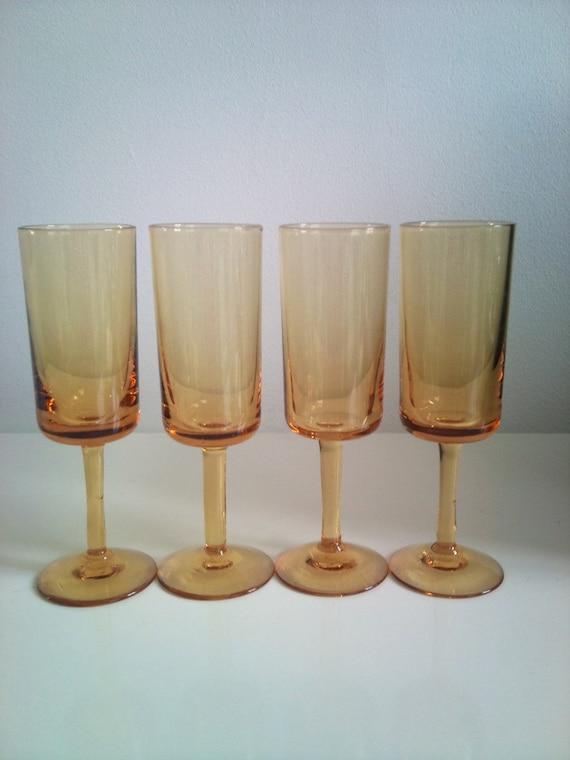 Vintage Yellow  Aperitif / Sherry Glasses