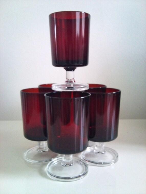 Vintage Red  Aperitif / Shot Glasses