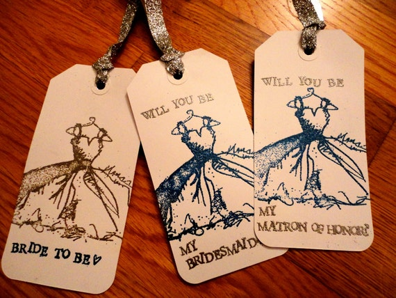 Will you be my bridesmaid - custom wine bottle tags - Set of 7