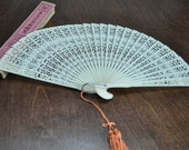 Vintage Chinese White Plastic Fan