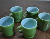 RESERVED  -  Vintage Green Fire King Coffee Mugs set of 5