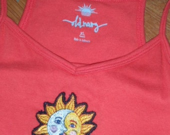 Upcycled New Old Navy Pink Coral Sun Dress w/ Sun Moon embroidery Sz XL 14 Tank dress
