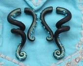 Octopus Tentacles Gauge or Fake Gauge Earrings