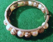 """Vintage Bracelet Cuff Bangle 5/8"""" wide Goldtone with """"Pearls"""" and Filigree Beads"""