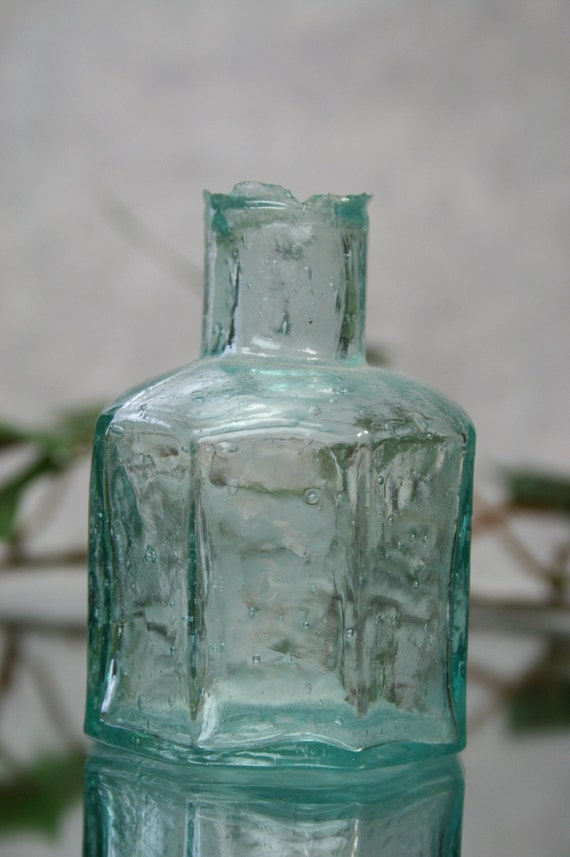 Antique Sheared Top Glass Ink Bottle- Teal Glass