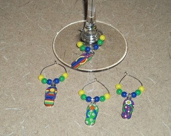 4 piece flip flop wine charm set