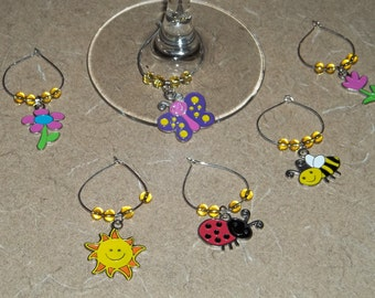 6 piece Spring/Summer wine charm set