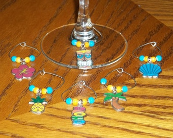 6pc. Tropical Wine Charm Set