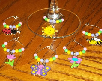 6pc. Spring Wine Charm Set