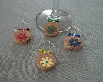 4pc. Flower Cork Wine Charm Set