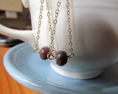 Tourmaline and Chain 12k gold fill drop earring raspberry maroon semiprecious gem
