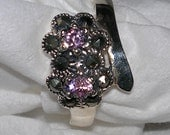Size 5 925 Silver Flower Ring With Pink Stones Pinkie Ring or Small Finger