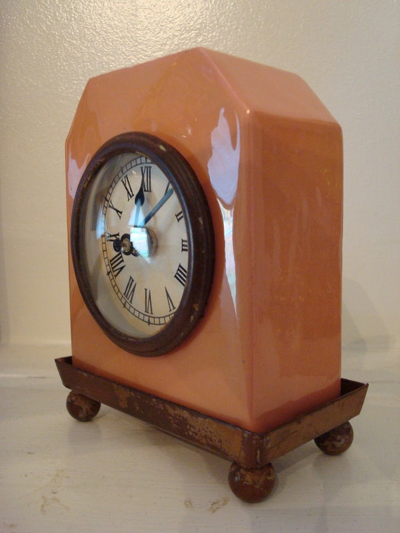 Very Cute Pink and Brown Art Deco Clock