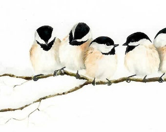 What's He Want, Chickadees on a limb, Giclee mini print