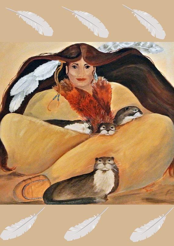 Otter Woman, Greeting Card 5 x 7 blank card